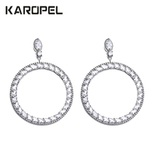 2019 Fashion Zircon Earrings Crystal Circle Simple Big Silver Color Loop For Women