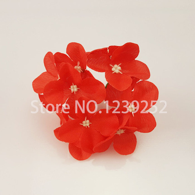 NEW 50 Pcs/Lot  Artificial Hydrangea Silk Flowers Heads Decoration for Wedding Party Banquet Home Decoration Fake Flowers 3