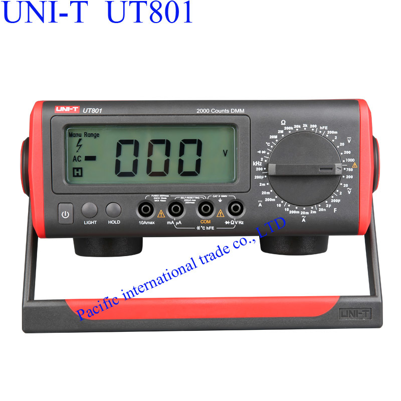 UNI-T UT801 Bench Type/Desktop Digital Multimeter with Thermometer, LCD Display, Data Hold Automatic Range  Ammeter Multitester  uni t ut90c ut 90c low price best multimeter digital with lcd display