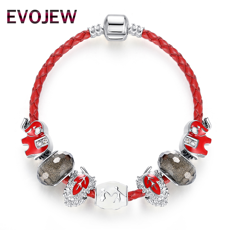 EVOJEW Hot Sale Trendy Silver Color Animal Elephant Leaf Beads Charm Leather Bracelet for Women DIY Jewerly Christmas Gift
