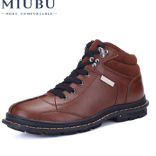 MIUBU 100% Genuine Leather Men Ankle Boots Winter High Top Men Snow Boots Keep Warm Flats Boots Men Winter Shoes Big Size 47 100% genuine leather men ankle boots winter high top men snow boots keep warm flats boots men winter shoes big size 47 jx5