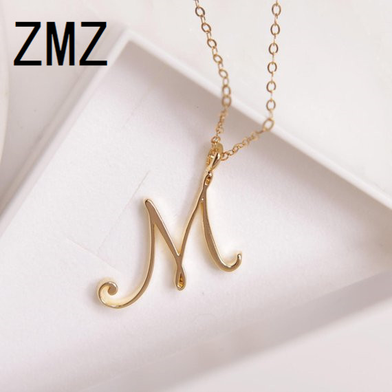 ZMZ 2018 Europe/US Fashion English Letter Pendant Lovely Letter M Text Necklace Gift For Mom/girlfriend Party Jewelry