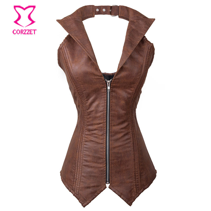 e698900f7e Halter neck Zipper Waist Trainer Vest Steel Boned Brown Leather Corset  Corselet Overbust Corsets And Bustiers Steampunk Clothing-in Bustiers    Corsets from ...