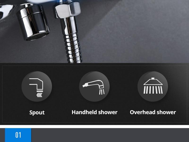 hm Black Rainfall Thermostatic Shower Faucet Set Single Lever Brass Mixer Valve Rack Bath Shower Mixers Rack shower set (14)
