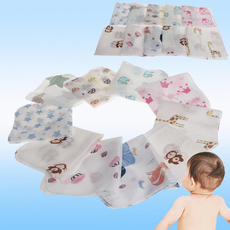 New 10pcs Cotton Blend Baby Infant Towel 28*28cm Muslin Towel Handkerchiefs Two Layers Wipe Towel