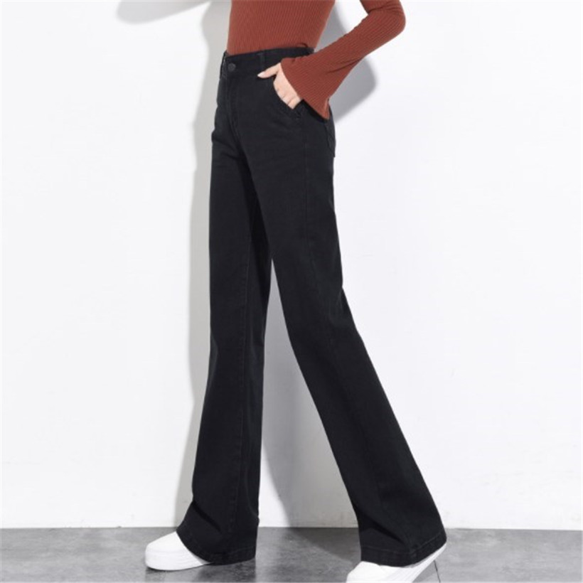 Ladies Loose Fit Jeans High Waist Vintage Women Boot Cut Jeans Culottes Black Jeans Woman Wide Leg