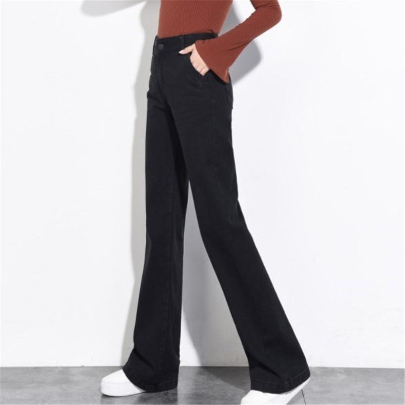 Ladies Loose Fit Jeans High Waist Vintage Women Boot Cut Jeans Culottes Black Jeans Woman Wide Leg