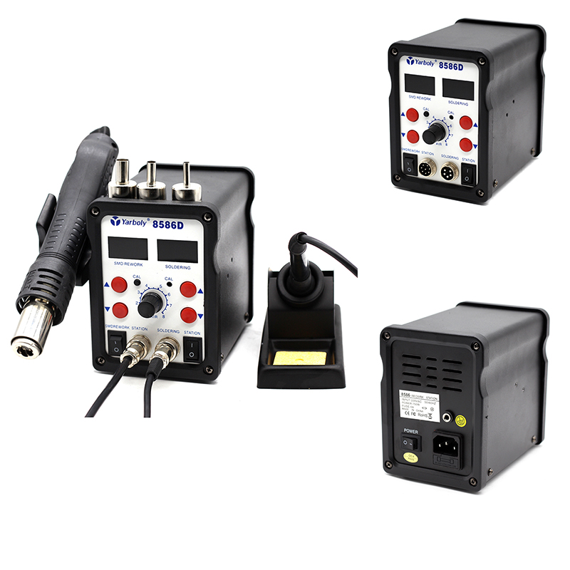 Yarboly 8586D Rework Station Double Digital 2 In 1 SMD Rework Soldering Station Hot Air Mobile Phone Repair Tools Than 8586 858D yaogong 8586 rework station 2 in 1 double digital smd rework soldering station iron hot air mobile phone repair tools