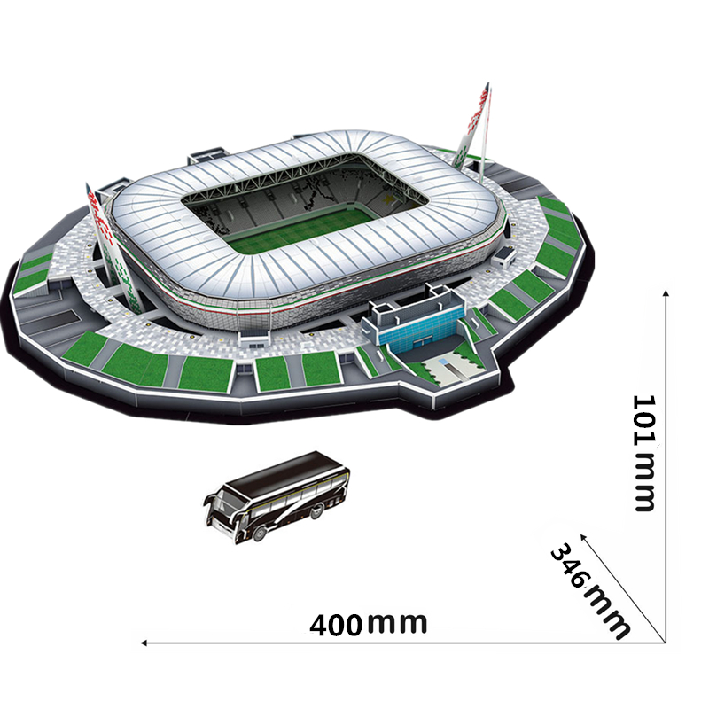 Classic Jigsaw Models Turin Italy Juventus F.C. Alessandro RU Football Game Stadiums DIY Brick Toys Scale Sets Paper Competition