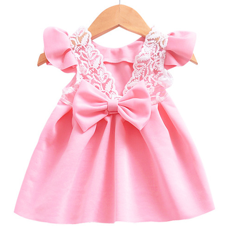 2018 Summer Flowers Girls Dress Big Bow Lace Princess Girl Dresses Newborn Kids Backless Dress Baby Clothes Formal Party Costume erapinky girl dress kids girls backless dress bow lace ball gown party dresses easter dress for girls 8year old child clothes