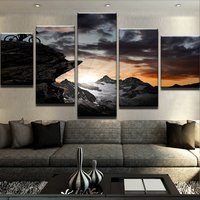 Painting Canvas Printed Poster Modern 5 Panel Swiss Alps Mountain Home Decor For Living Room Artwork Wall Art Modular Pictures