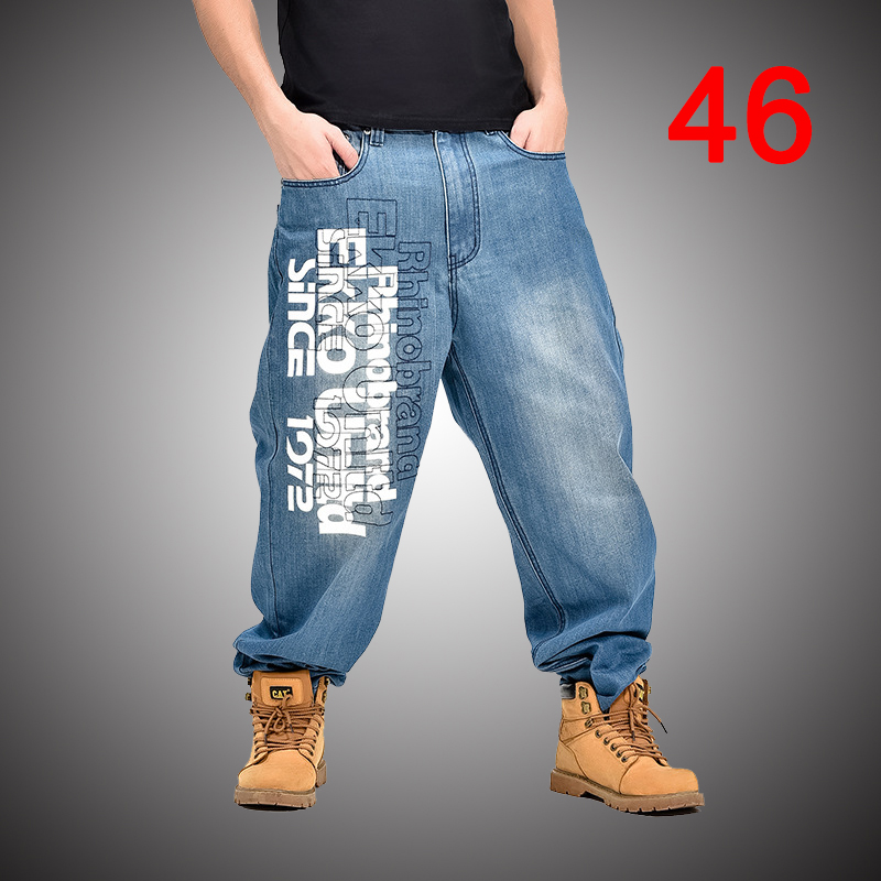 505ee2b4575 Baggy Jeans Men Denim Pants Loose Streetwear Jeans Hip Hop Casual Letter  Print Skateboard Pants for