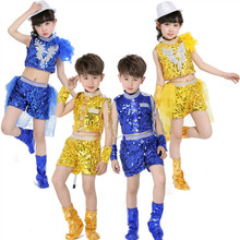 New Arrival Blue Yellow Red Sequin Sexy Boy Girls Performing Dance Costumes Clothing And Child Jazz