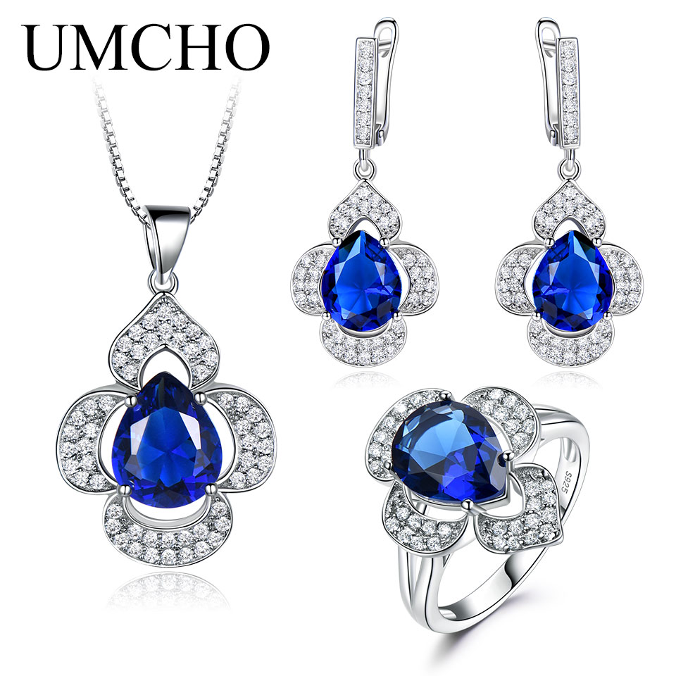 UMCHO 925 Sterling Silver Jewelry Set for Women Blue Sapphire Gemstone Ring Pendant Drop Earrings Female