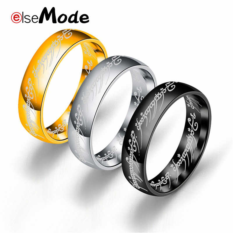 ELSEMODE New Stainless Steel One Ring of Power the Lord of One Ring Lovers Women Men Fashion Jewelry Wholesale Drop Shipping