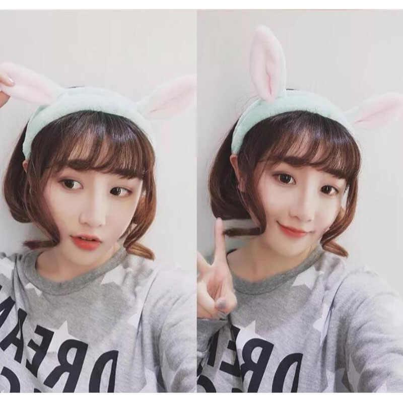 Sıcak Sevimli Yumuşak Makyaj Tavşan Kulaklar Kafa Bandı Geniş Havlu saç bandı Kadın Kızlar Güzel Saç Bantları
