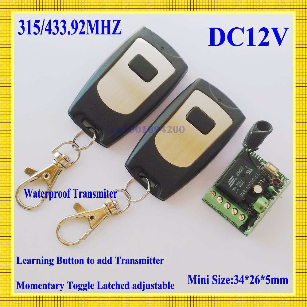 Auto door opener 12V wireless remote control switch system 2 transmitter & 1receiver Mini size 315/433MHZ factory sell directly бентли трейд барный стул бентли трейд jy 1008 red