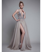 Sexy Side Split Prom Dresses 2016 Deep V Neck Backless Beads Crystal Party Gowns Sleeveless
