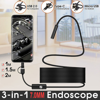 TYPE C USB Mini Endoscope Camera 7mm 2m 1m 1.5m Flexible Hard Cable Snake Borescope Inspection Camera for Android Smartphone PC Computer, Office & Security