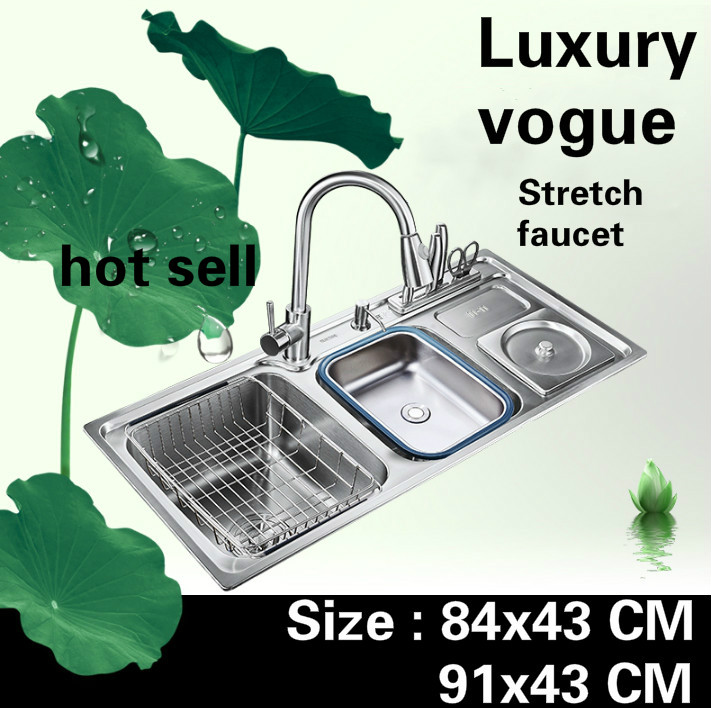 Free shipping Apartment vogue kitchen double groove sink luxury stretch faucet 304 stainless steel hot sell big 84x43/91x43 CMFree shipping Apartment vogue kitchen double groove sink luxury stretch faucet 304 stainless steel hot sell big 84x43/91x43 CM