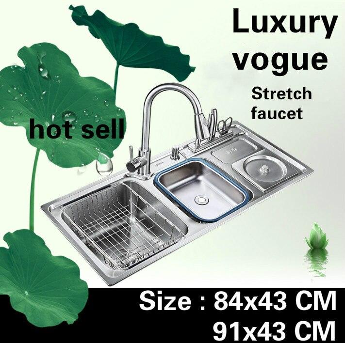 Livraison gratuite appartement vogue cuisine double rainure évier luxe robinet extensible 304 acier inoxydable vente chaude grand 84x43/91x43 CM