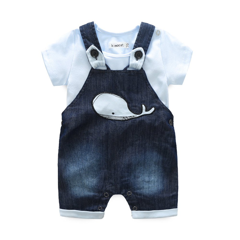 Newborn Clothes Sets Baby Boy Clothing Summer Casual Suit Short Sleeve Rompers+Cartoon Dolphins Jeans Suspender Shorts 2Pcs/Sets germany semikron new igbt module skm400gb128d skm400gb12t4 skm400gb12e4