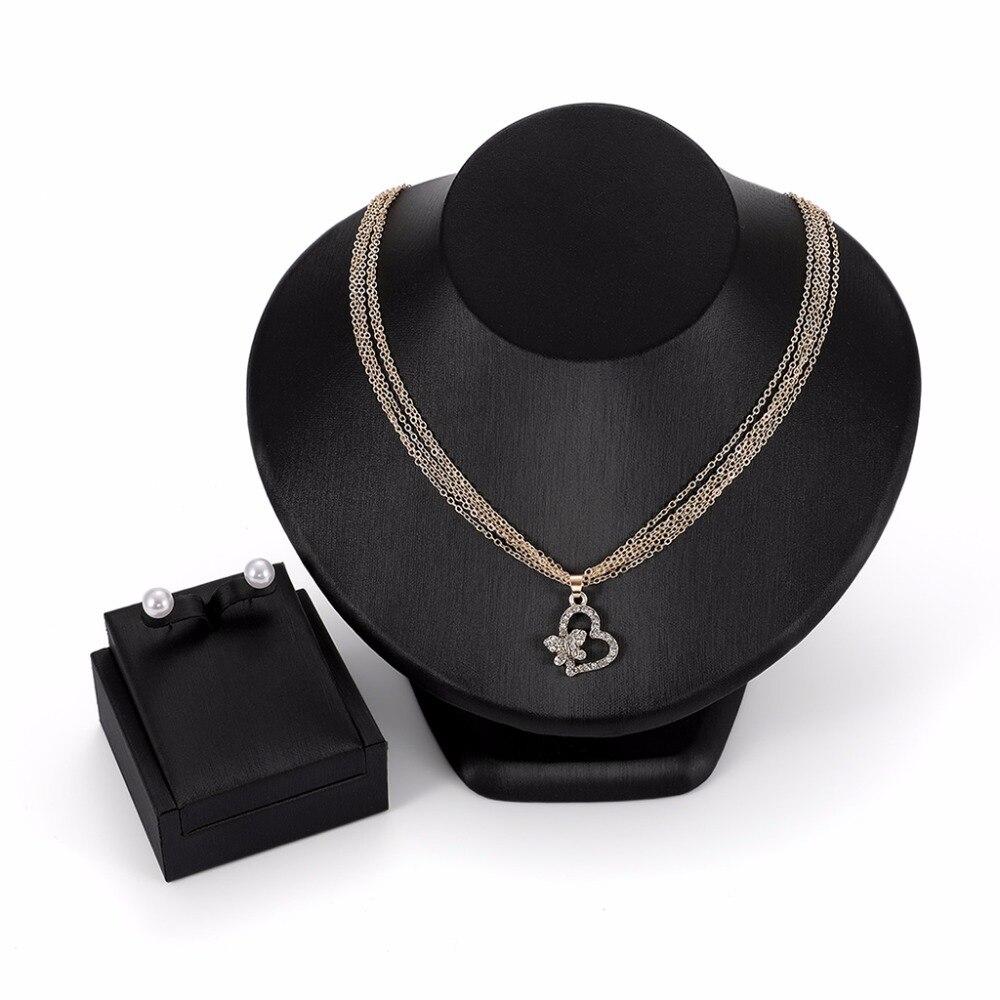 1 Satz Elegante Multi Schicht Perle Ohrringe Halskette Frauen Schmuck Anhänger Luxus Hochzeit Edle Schmuck Sets Geburtstag Geschenke