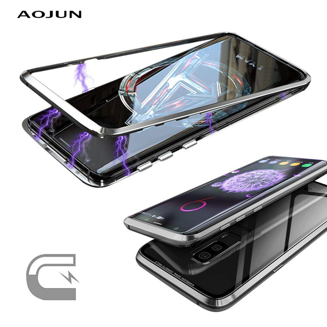 newest ceff3 5c282 US $13.38 |Magnetic Adsorption Metal Case For Samsung Galaxy S9 Plus  Transparent Glass Cover Magnets Cover For Samsung S9 S9 Plus-in Phone Pouch  from ...