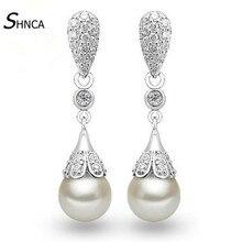 AAA Zircon Cubic Zirconia Round Natural Pearls Water Drop Earings 925 Sterling Silver Long Earrings For Women Fine Jewelry E484