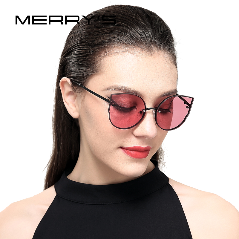 MERRY S 2017 New Arrival Women Classic Brand Designer Cat Eye Sunglasses Rimless Metal Frame Sun
