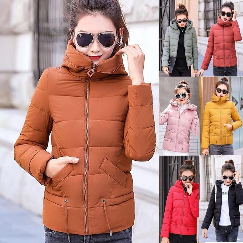 ZOGAA 2019 Winter Women   Parkas   Cotton-padded Hooded Coat Short   Parkas   Warm Turtle Neck Female Coats Winter Fashions Women Coat