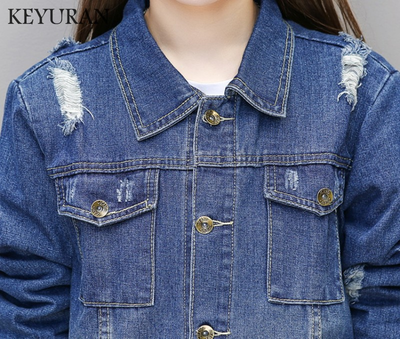 Denim Blue Jacket Women Long Jeans Sleeve Hole 2018 Loose Vintage Coat Spring Jackets Autumn Boyfriend Style UqdwxZ