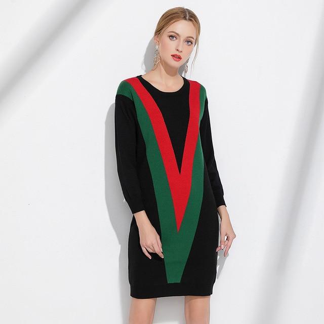 Xl Xxxxl Xl Plus Size Sweater Dress  New Women Long Sleeve V Pattern Striped