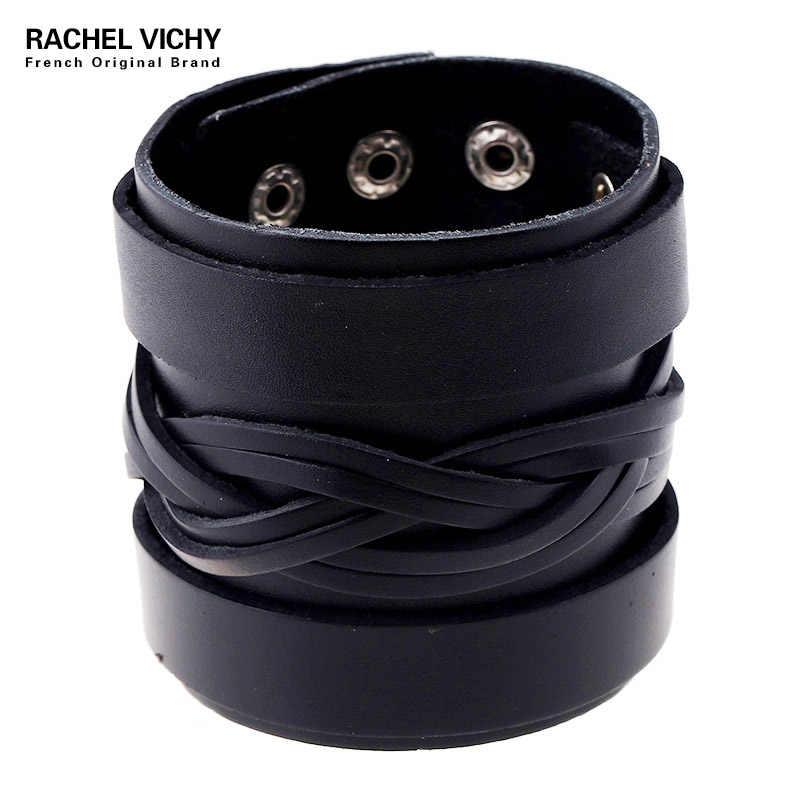 Vintage prawdziwy szeroki mankiet skórzany męski bransoletka biżuteria punk rockowa skóra bydlęca bransoletka i bransoletka mężczyzn biżuteria nadgarstek P01850