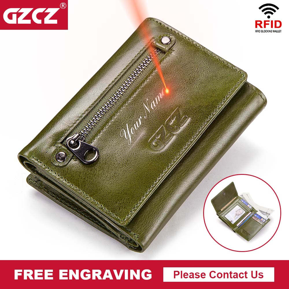 Free Engrave Genuine Leather Wallet Female Trifold Women Rfid Wallet Zipper Poucht Casual Coin Purse Portomonee Clamp For Money