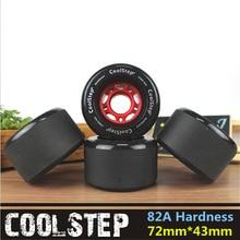 4 stks/partij Frosted Oppervlak Skate Board Wiel met 72mm 70mm Diameter Skateboard Rodas 82A Zwarte Lange Drift Boord accessoires