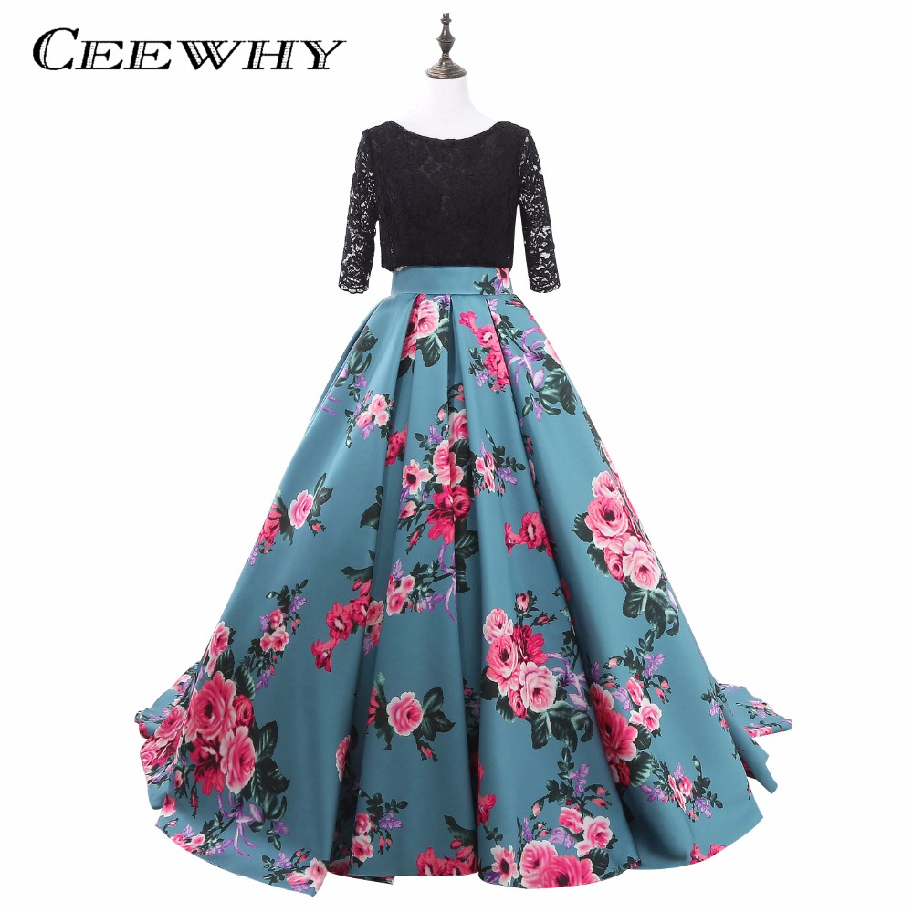 Ball Gown Printing Long Floral Prom Dresses Black Lace Prom Gowns ...