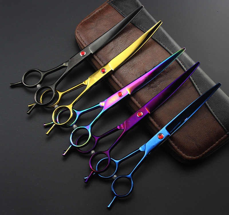 Professional Cutting Hairdressing shears pet grooming curved Scissors Barber hair cut 7/7.5/8 inch japan steel scissors