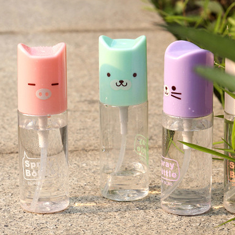 1pc mini cute cartoon plastic transparent 35ml small empty spray bottle for make up and skin