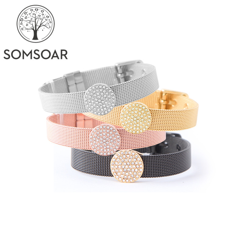 где купить Dropshipping Somsoar Jewelry Mesh Charm Bracelet Set with Deluxe Slide Charms and Stainless Steel Bracelet & Bangles as Gift по лучшей цене