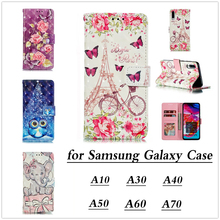 For Samsung Galaxy A70 A60 A50 A40 A30 A10 Case Luxury Lovely Elephant Leather Pretty Butterfly Flower Phone Cas