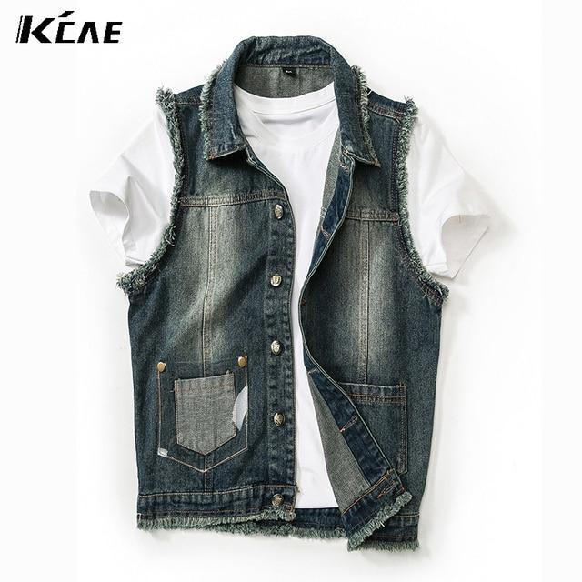 2016 New Denim Vest Men Blue Jeans Vest Sleeveless Denim Jacket handsome Vest Sleeveless Waistcoat