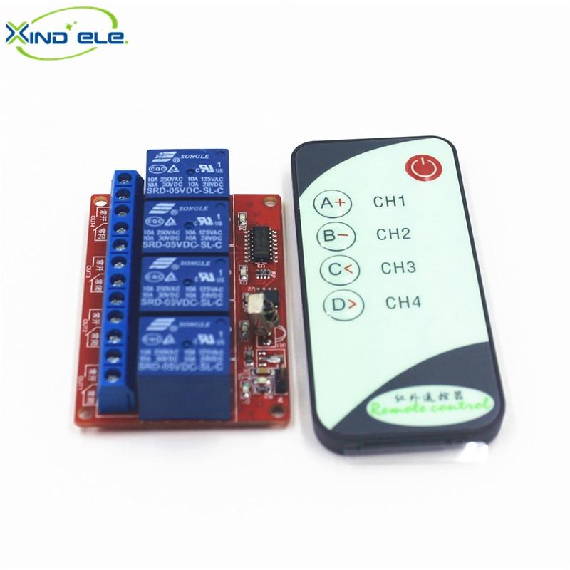 цена на XIND ELE 4 way 5V DC IR Remote Momentary Jog Switch Module + 5-key Remote For Home Auto Light Garage Door #IR05-4JM+PM5#