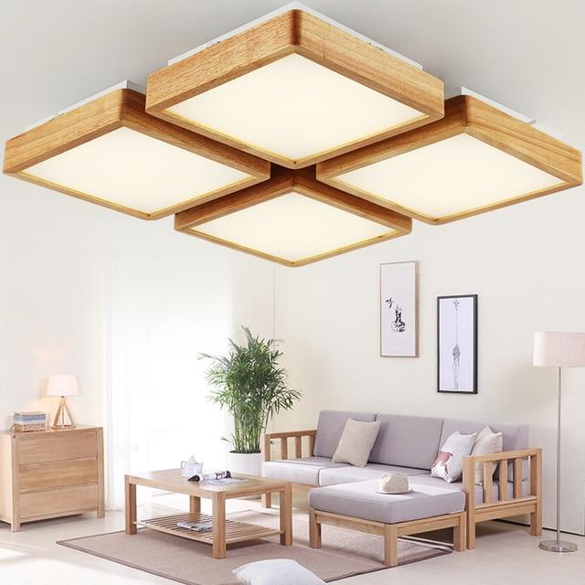 US $48.52 32% OFF|Holz LED decke leuchte flush mount lampe für schlafzimmer  wohnzimmer home dekorative design indoor laterne lampe in Holz LED decke ...