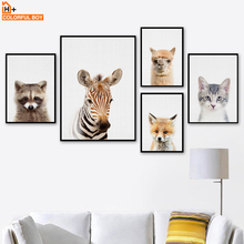 COLORFULBOY Fox Cat Zebra Wall Art Print Canvas Painting Animal Poster Nordic Style Kids Decoration Pictures For Room