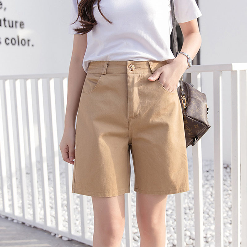 2019 Summer Women's Tooling Shorts Fashion High Waist Loose Wide Leg Long Shorts Students 4 Points Shorts Harajuku Style Female