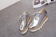 New Womens Lace Up Striped Platform Metallic Silver Black Gold Fashion Vintage Platform Bullock Flat Female Shoes JY&1011