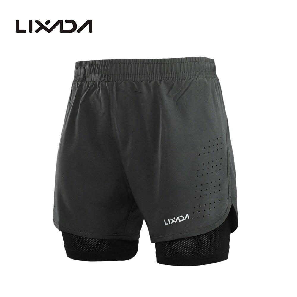 Шорты Lixada мужские для бега и активных тренировок, быстросохнущие дышащие, 2-в-1, с длинной подкладкой