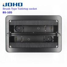 Enchufe de escritorio JOHO, Panel plateado negro de aluminio, enchufe de mesa tipo abierto estándar de la UE, toma de corriente eléctrica con puerto VGA de Audio HDMI