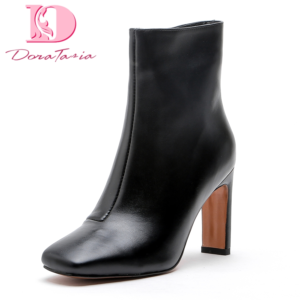 Doratasia New Genuine Leather Large Size 34-43 High Heels Women Boots Shoes Woman Cow Leather sexy Ankle Boots Woman hot sale new 2017 new sexy genuine leather black boots rivet square heels autumn winter ankle boots sexy shoes woman size 34 43